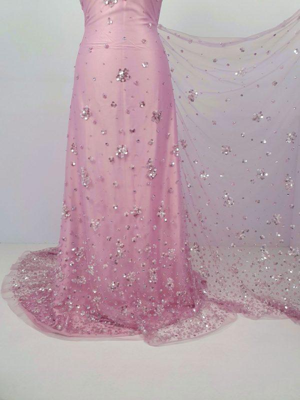 Dantela roz lila cu cristale