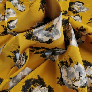 Brocard mustard & black cu flori