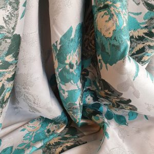 Brocard green & light grey cu flori