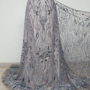 Dantela blue grey cu margele