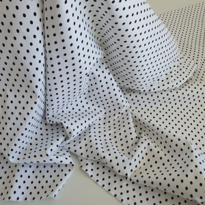 Jacquard elastic alb din bumbac cu buline