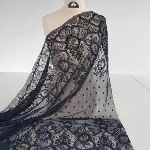 Dantela frantuzeasca neagra cu lana VAL8001