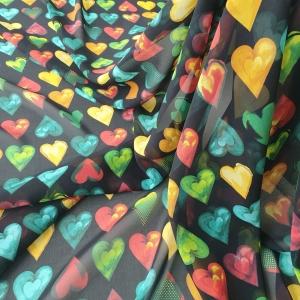 VER565 Voal chiffon Hearts Print din matase naturala
