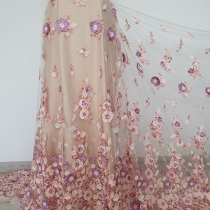 Broderie Pastel Spring cu flori 3D