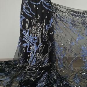 Broderie couture royal blue&silver design Elie Saab