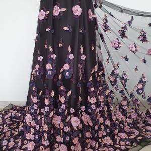 Broderie cu flori 3D pink&navy