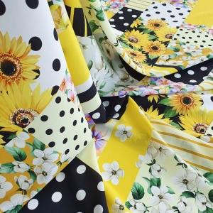 DG599 Matase naturala mata Sunflower Patchwork