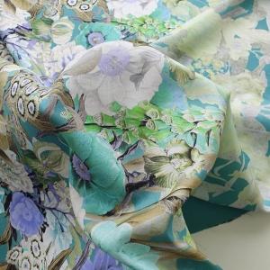 AM21 Shantung subtire cu imprimeu floral