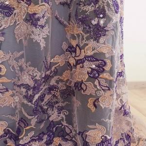 Broderie Purple Flowers cu fir metalizat
